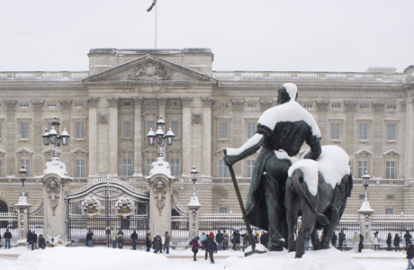 Buckingham Palace during a snow storm in London, England. (Ellen Rooney/Robert Harding /AP Images)