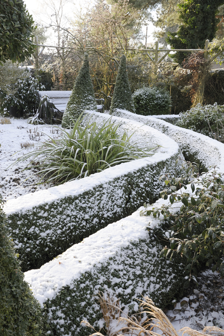 View of snow covered garden with hedging, Norfolk, England, december (Photo by: Minden Pictures/AP Images)