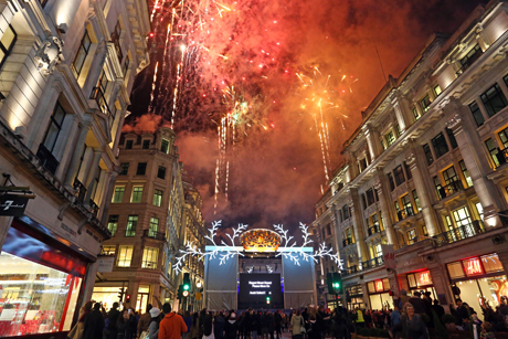 Fireworks as the Regent Street Christmas Lights are switched on with decorations showing the twelve days of Xmas Regent Street and Carnaby Street Christmas Lights switched on, London, Britain - 09 Nov 2013  (Rex Features via AP Images)