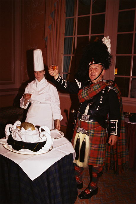 The suppers range in formality ... this is a formal address to the haggis. (Nick Wood/Robert Harding /AP Images)