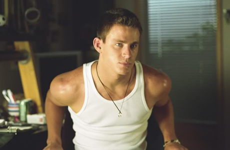 """It may not be politically correct but yep, this is Channing Tatum in a """"wife beater."""" ("""