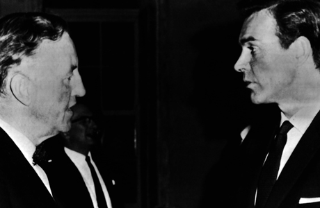 """FILE PHOTO Writer Ian Fleming, left, with actor Sean Connery during the filming of """"From Russia with Love"""" on August 12, 1964. (AP Photo)"""