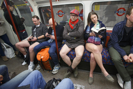 Just another day on the Tube, nothing weird going on here. (Rex Features via AP Images)