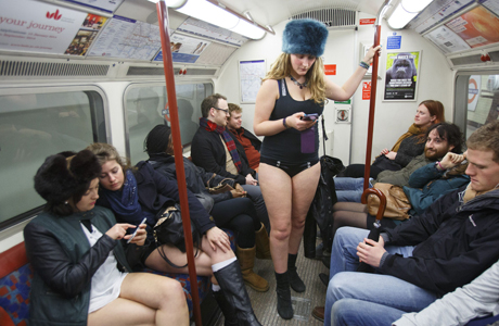 """No pants, no coat ... but I have a furry hat on."" (Rex Features/AP)"