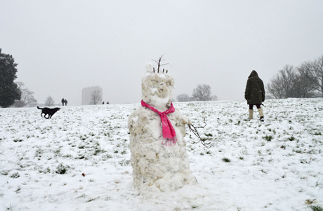 A snowman Snow and sledging in Brockwell Park, London, Britain - 20 Jan 2013 (Rex Features via AP Images)