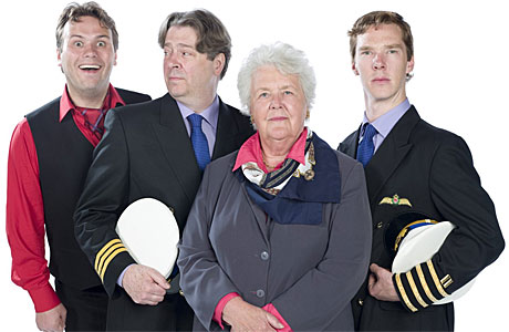 John Finnemore, Roger Allam, Stephanie Cole and Benedict Cumberbatch in 'Cabin Pressure'