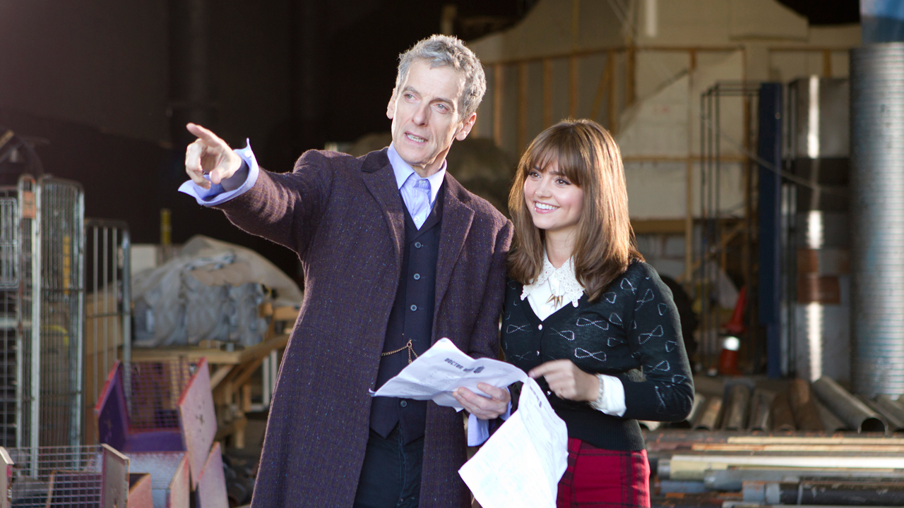 The first photo of Peter Capaldi as the Doctor on set with Jenna Coleman