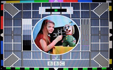 The Test Card F girl Carole and her clown Bubbles.