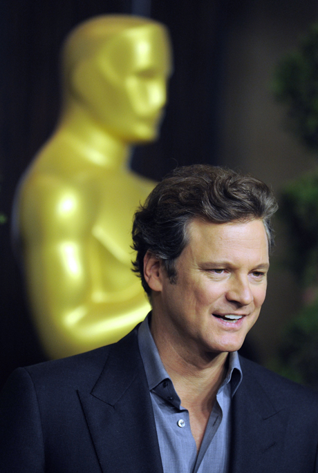 "Colin Firth, an Academy Award nominee for Best Actor for his performance in ""A Single Man,"" arrives at the Academy Awards Nominees Luncheon in Beverly Hills, Calif., Monday, Feb. 15, 2010. (AP Photo/Chris Pizzello) 2010, The King's Speech"