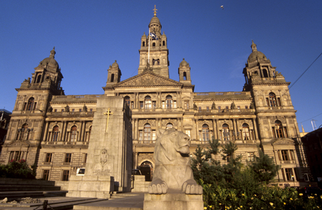 George Square and City Chambers dating from 1888, Glasgow, Scotland. (Patrick Dieudonne/Robert Harding /AP Images)