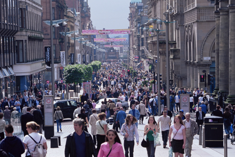 People walking on Buchanan Street, Glasgow, Scotland. (Yadid Levy/Robert Harding /AP Images)