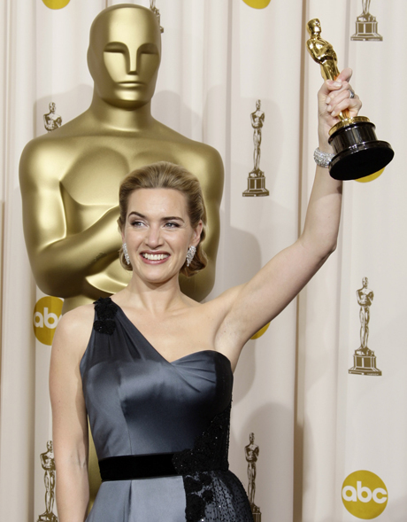 "**EMBARGOED AT THE REQUEST OF THE ACADEMY OF MOTION PICTURE ARTS & SCIENCES FOR USE UPON CONCLUSION OF THE ACADEMY AWARDS TELECAST**British actress Kate Winslet holds the Oscar for best actress for her work in ""The Reader""  during the 81st Academy Awards Sunday, Feb. 22, 2009, in the Hollywood section of Los Angeles. (AP Photo/Matt Sayles)"