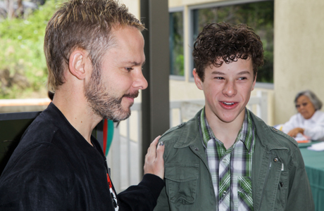 Dominic Monaghan and 'Modern Family' star Nolan Gould. (Photo: Ben Horton/Getty Images for BBC AMERICA)