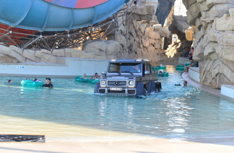 Talent pool: Richard Hammond driving in Yas Waterworld in Abu Dhabi. (BBC AMERICA)