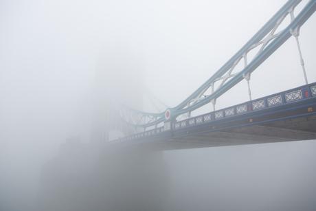 Thick fog shrouds Tower Bridge Fog in London, Britain - 13 Mar 2014  (Rex Features via AP Images)