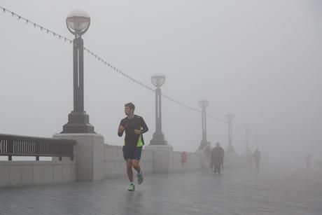 Fog surrounds Thames path near Tower Bridge Fog in London, Britain - 13 Mar 2014  (Rex Features via AP Images)