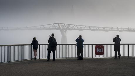 Heavy Fog over the Millenium Bridge, River Thames Fog in London, Britain - 13 Mar 2014  (Rex Features via AP Images)