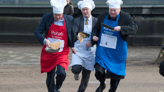 Rehab Parliamentary Pancake Race in Victoria Tower Gardens, West