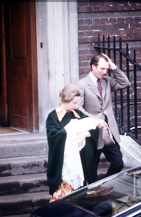 Princess Anne (later the Princess Royal) carrying her three day-old daughter Zara, with her husband Captain Mark Phillips, leaving St Mary's Hospital in Paddington.