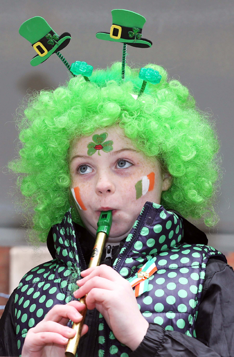 A young performer takes part in the St.Patrick's Day Parade St Patrick's Day Celebrations, London, Britain - 17 Mar 2013  (Rex Features via AP Images)