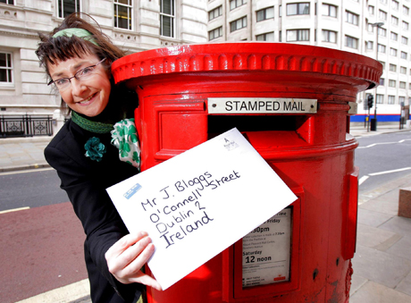 St Patrick's Day post.STANDALONE PHOTO. Actress Pauline McLynn best known as 'Mrs Doyle' from the classic Father Ted celebrates the upcoming Irish national holiday on Monday March 17 by sending a St Patrick's Day card in central London. Picture date: Wednesday March 12, 2008. 25,000 letters a day in the UK go into the postal system with just a first name so Royal Mail is urging people to address their cards correctly this St Patrick's Day. Costs for posting a card to Ireland from the UK start at 48p. Photo credit should read: Anthony Upton/PA Wire URN:5768936