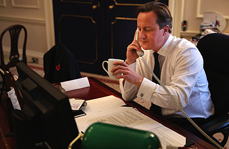 David Cameron: That tea is about to be spat all over his screen (Press Association via AP Images)