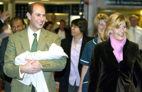 The Earl and Countess of Wessex leave Frimley Park Hospital in Surrey, England, Sunday, Nov. 23, 2003, carrying their newly born baby. The child, whose name has not yet been officially announced, was born prematurely by emergency caesarian section on Nov. 8. (AP Photo/Stephen Hird/