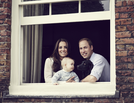 This image is not for resale. FREE FOR EDITORIAL USE ONLY. No commercial, souvenir or promotional use permitted. The photograph cannot be cropped, manipulated or altered. Mandatory Credit - Jason Bell. This image must not be published/archived after JuneThe Duke and Duchess of Cambridge with Their Son Prince George at Kensington Palace, A new official photograph of Prince George showing just how much he has grown has been released. The image, which shows the eight-month-old with his parents the Duke and Duchess of Cambridge and family dog Lupo, was released ahead of their upcoming tour of Australia and New Zealand later this month. Taken by royal christening photographer Jason Bell, the relaxed shot shows the family looking through an open window at their Kensington Palace home, with little George wearing a blue jumper bearing his name. The Duke and Duchess of Cambridge with Their Son Prince George at Kensington Palace A new official photograph of Prince George showing just how much he has grown has been released. The image, which shows the eight-month-old with his parents the Duke and Duchess of Cambridge and family dog Lupo, was released ahead of their upcoming tour of Australia and New Zealand later this month. Taken by royal christening photographer Jason Bell, the relaxed shot shows the family looking through an open window at their Kensington Palace home, with little George wearing a blue jumper bearing his name. For more information visit http://www.rexfeatures.com/stacklink/KYSCYKRGQ (Rex Features via AP Images)