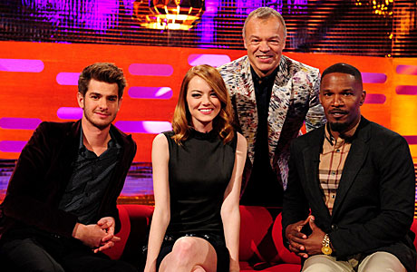 Andrew Garfield, Emma Stone and Jamie Foxx on The Graham Norton Show (Ian West/PA Wire)