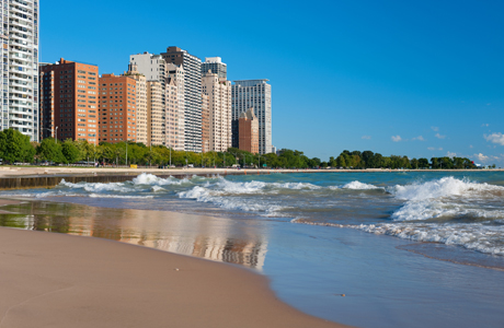 No, it's not downtown Miami: this is Chicago with the raging Lake Michigan nipping at its hemline. (Photo: Fotolia)