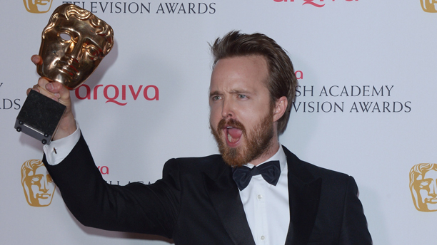 Aaron Paul celebration the BAFTA win of 'Breaking Bad' in London. (Photo: Jon Furniss/Invision /AP Images)