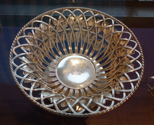 This silver bowl is an example from the exhibit. (Wiki)