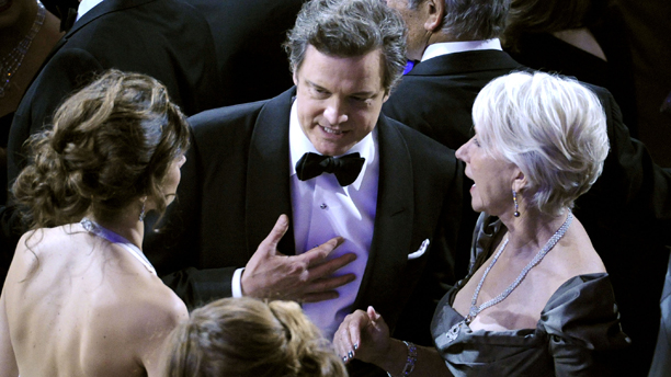 rom left, Livia Giuggioli, actor Colin Firth, actress Helen Mirren, and Taylor Hackford are seen during the 83rd Academy Awards on Sunday, Feb. 27, 2011, in the Hollywood section of Los Angeles. (AP Photo/Mark J. Terrill)