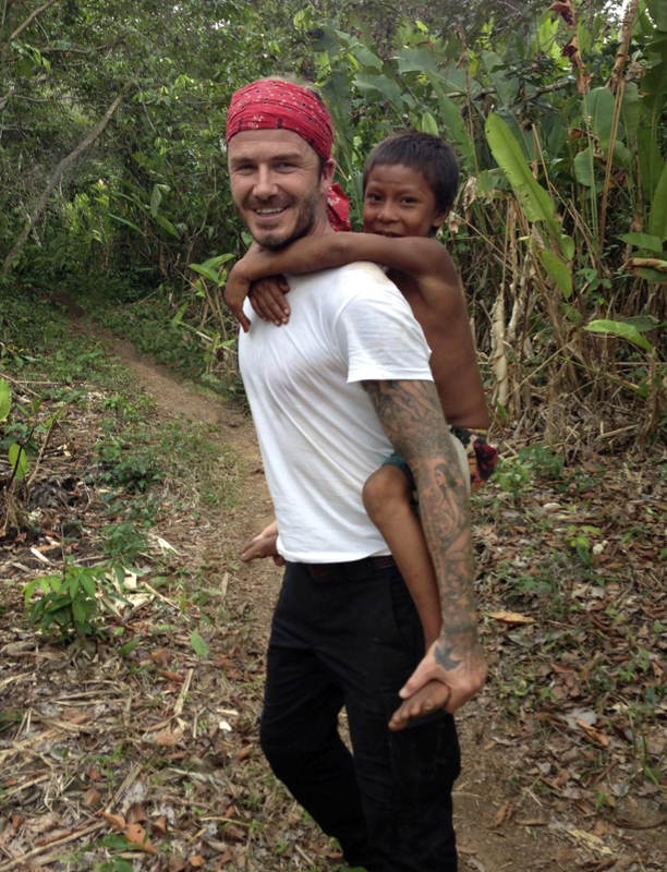 Beckham makes a great playmate for local children. (BBC1)