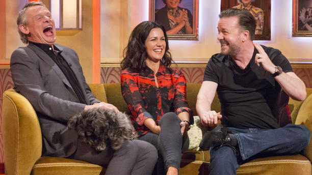 Martin Clunes, Susanna Reid and Ricky Gervais Martin Clunes, Susanna Reid and Ricky Gervais with Olga 'The Paul O'Grady Show' TV Programme, London, Britain. - 30 Apr 2014  (Rex Features via AP Images)