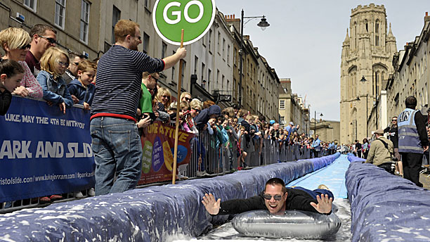 The bottom of the giant water slide (Rex Features via AP Images)