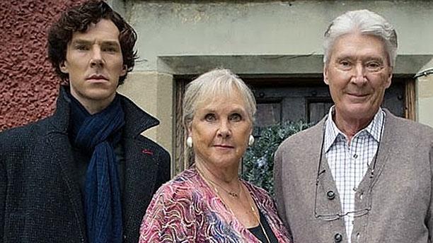 Bendict Cumberbatch and his mum Wanda Ventham, and his dad Timothy Carlton in 'Sherlock' (Pic: BBC)