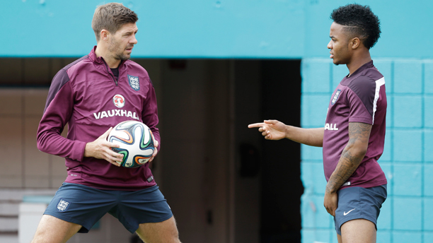 England World Cup (and Liverpool) teammates Steven Gerrard (left) and Raheem Sterling training in Miami. (Photo: AP/Wilfredo Lee)