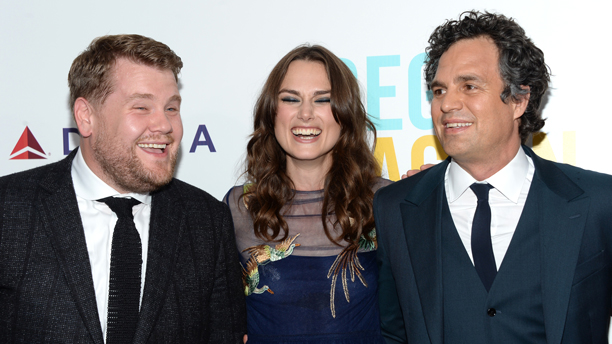 James Corden (left) with his 'Begin Again' co-stars Keira Knightley and Mark Ruffalo. (Photo: Evan Agostini/Invision/AP)