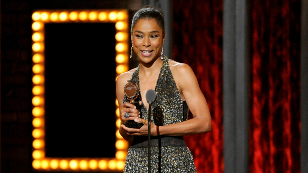 "British actress Sophie Okonedo accepts her Tony Award for best performance by an actress in a featured role in a play for ""A Raisin in the Sun."" (Photo: Evan Agostini/Invision/AP)"