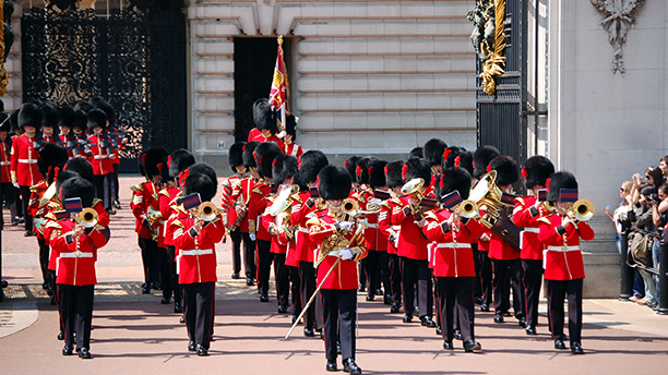 The Band of the Coldstream Guards march during Changing the Guards at Buckingham Palace of London, United Kindom. Photo by: Uwe Gerig/picture-alliance/dpa/AP Images