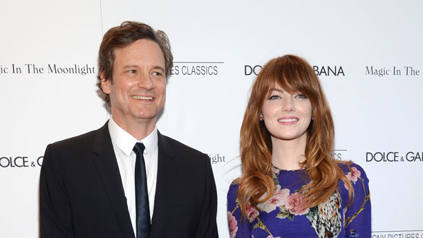 Colin Firth and Emma Stone are all smiles at the New York premiere of Magic in the Moonlight. (AP)