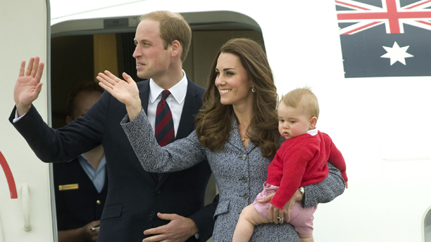 Prince George's first birthday. File photo dated 25/04/14 of The Duke and Duchess of Cambridge and Prince George depart Canberra during their tour of Australia. Prince George first birthday is on July 22. Issue date: Sunday July 13, 2014. See PA story ROYAL George. Photo credit should read: Anthony Devlin/PA Wire URN:20383138