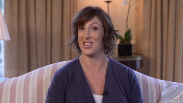 Miranda Hart is comfy at home, or what looks like her home, talking shop. (YouTube)