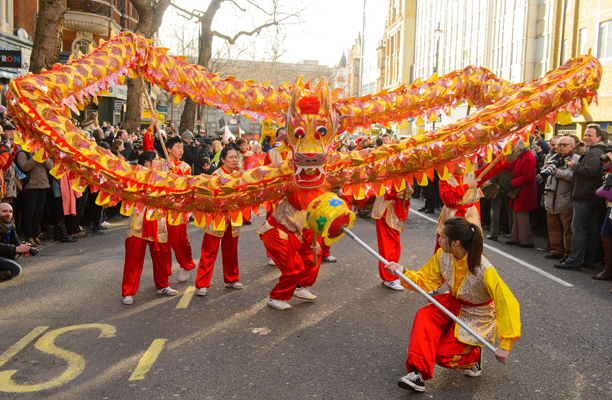 Chinese New Year Celebrations - London. A Chinese dragon leads the annual Chinese New Year parade through central London, marking the start of the Year of the Horse. Picture date: Sunday February 2, 2014. Photo credit should read: Dominic Lipinski/PA Wire URN:18859380