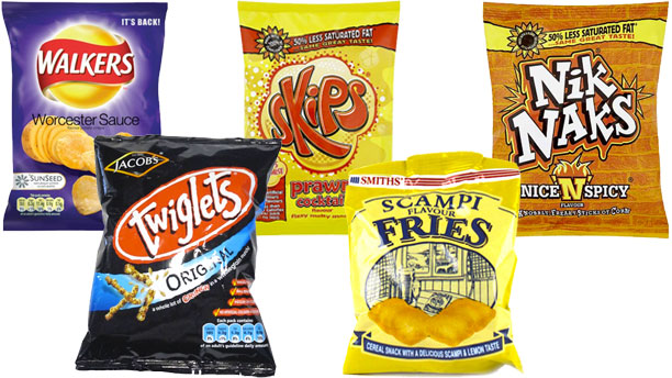 A selection of British snacks