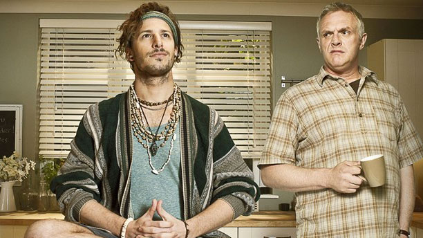 Andy Samberg and Greg Davies in 'Cuckoo' (Pic: BBC)