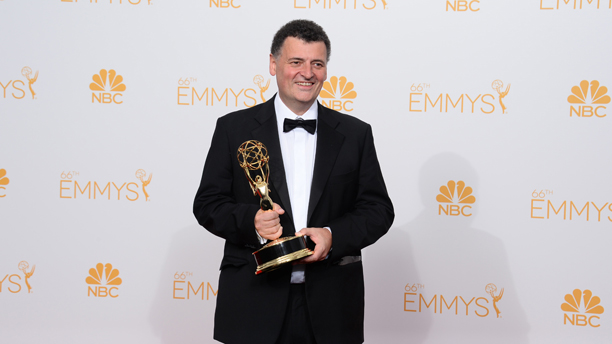 Steven Moffat with his Emmy. (Photo: Jordan Strauss/Invision/AP)