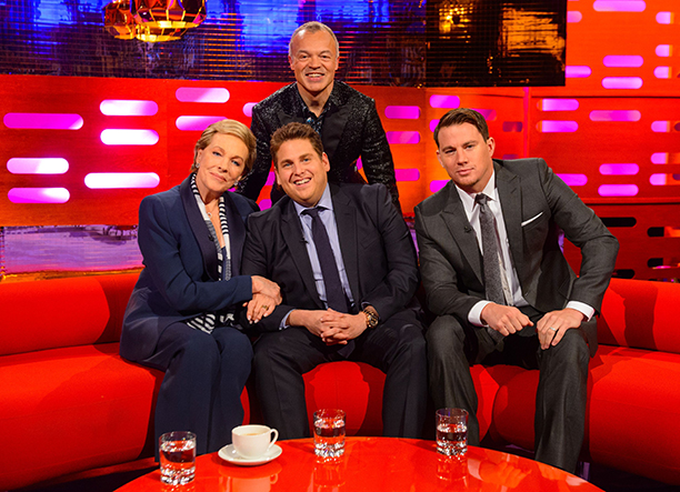 On May 22, 2014 Dame Julie appeared on The Graham Norton Show with host Graham Norton, Jonah Hill, and Channing Tatum. Jonah and Channing were clearly besotted with the film legend.