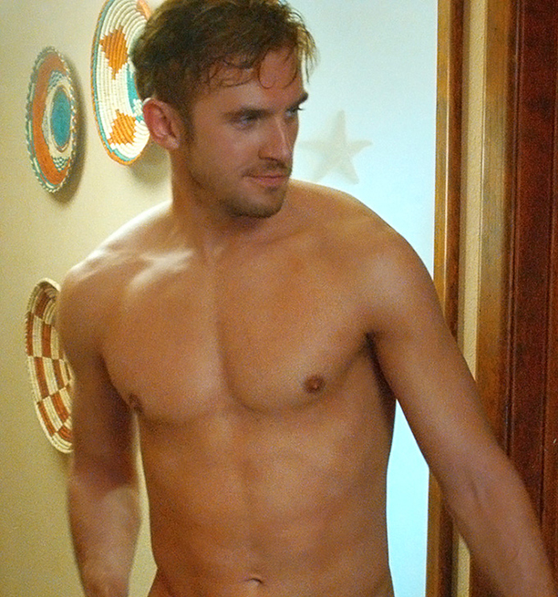 Stevens is seen getting out of the shower in The Guest. (Picturehouse)